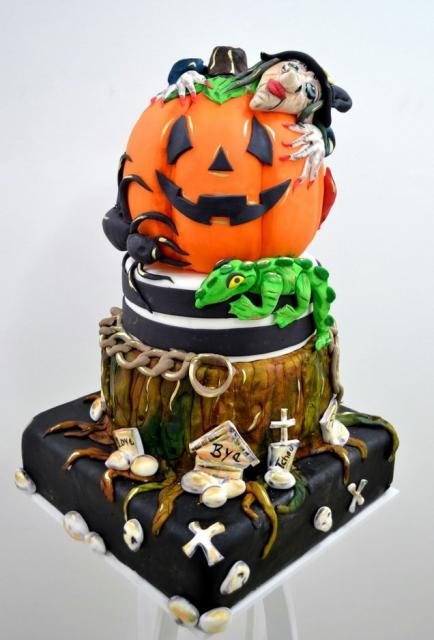 Witch Hugging Pumpkin 3 Tier Halloween Cake Very Detailed