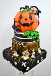 Witch Hugging Pumpkin 3 Tier Halloween Cake Very Detailed.JPG