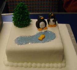 Very cute animal Christmas cake with tree.JPG