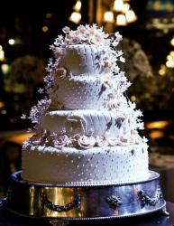 4 Tier Round Pink Wedding Cake with cascading flowers.JPG