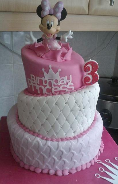 Topsy Turvy 3 Tier Minny Mouse Birthday Cake For 3 Year