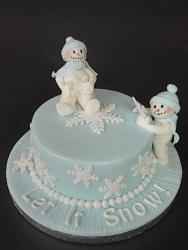 Blue Christmas cake with two snowmen.jpg