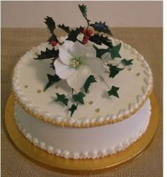 Christmas Cake with Christmas White Rose.JPG