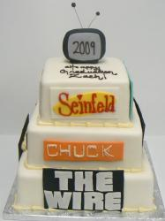 TV sitcom theme birthday cake in three tiers.JPG