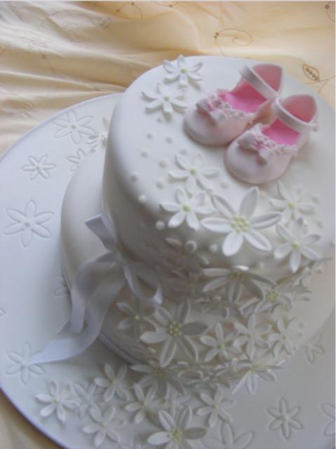 Girl Christening Cakes With Baby Girl Shoes Topper Jpg 4