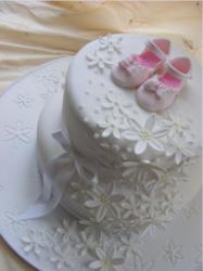 girl christening cakes with baby girl shoes topper.JPG