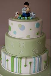 Green Christening Cake with figure topper.JPG