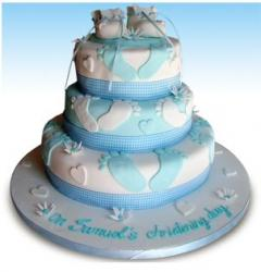 Little Feet Christening Cake in blue and white.JPG