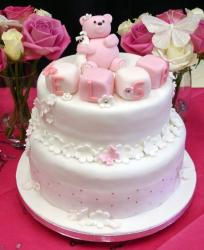 Pink bear Christening Cake picture.JPG