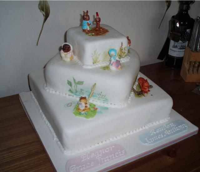 Square Christening Cake in three tier.JPG Hi-Res 720p HD