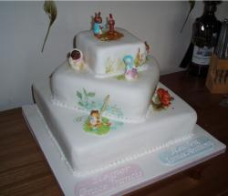 Square Christening Cake in three tier.JPG