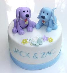 White and blue Christening cakes pictures.JPG