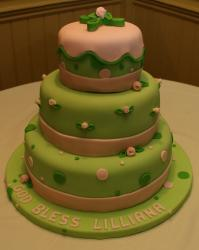 Baptism christening cakes in green and peachy pink.JPG