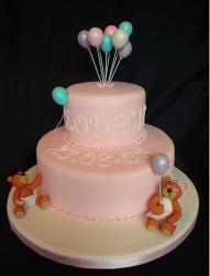 Bears and Balloons Christening cake in pink.JPG