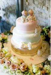 Beautiful Christening Cake with baby figures topper.JPG