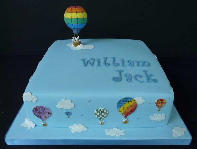 Blue Christening Cake With Win Balloons Jpg 1 Comment Hi