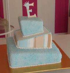 Christening cake photos in peach and blue.JPG