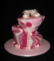 Christening cake toppers in pink and white.JPG