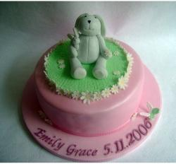 Christening cakes for girls with rabbit topper.JPG