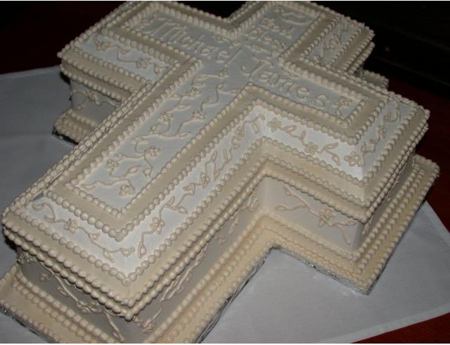 Creamy White Cross Christening Cakes Designs Jpg 6