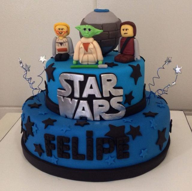 Picture of 2 tier lego star wars birthday cake in blue