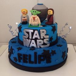 Two tier LEGO Star Wars birthday cake in blue.JPG