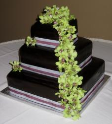 Three tier chocolate fondant wedding cake in square shape with fresh leaves and flowers.JPG