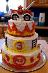 Three tier fire truck Cars birthday cake.JPG