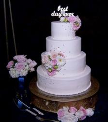 Round 4 Tier Pink Wedding Cake with Best Day Ever topper.JPG