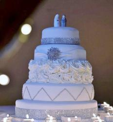 5 Tier White Round Wedding Cake with Tiffany Bands & Ceramic Bride & Groom Topper.JPG