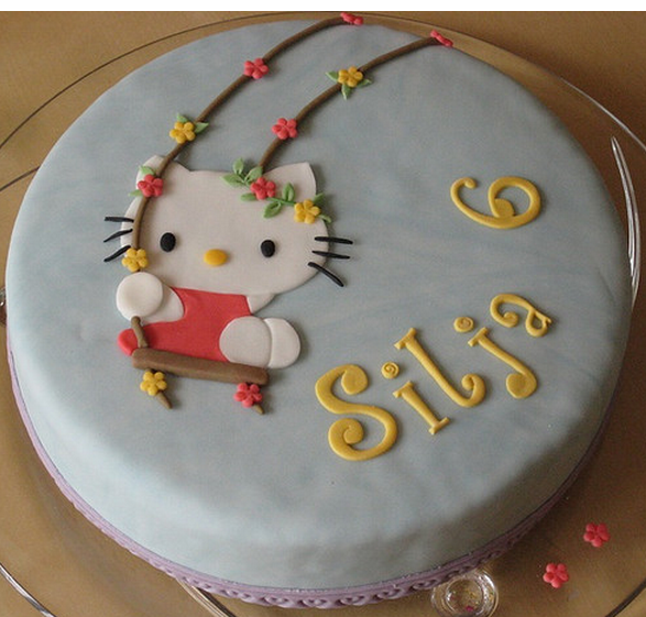 Decor Cake Hello Kitty : Modern Hello Kitty for kids_Hello Kitty on the swing cake ...