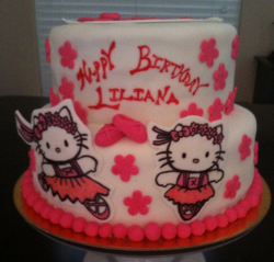 Two tiers Hello kitty ballet theme_Hello Kitty kids birthday cake pictures.PNG