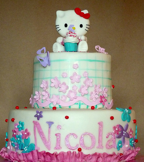 Fany Hello kitty cakes in two tiers with pretty cake decor.PNG