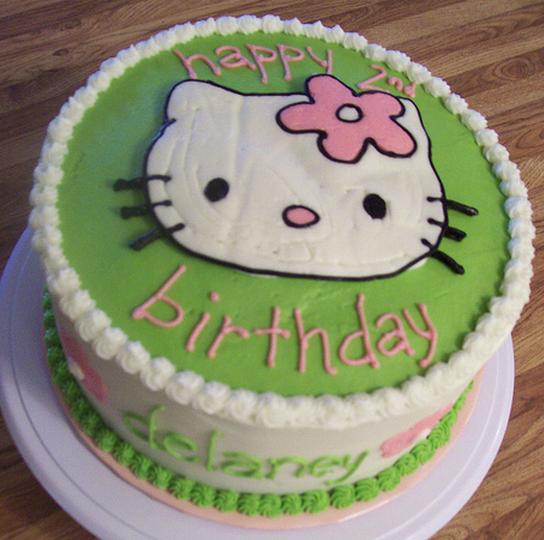 Image of green hello kitty birthday cake for children