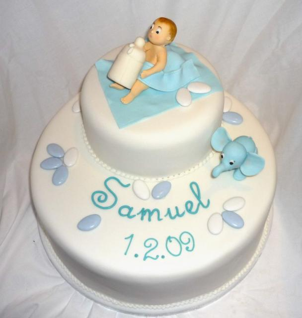 Baby Dedication Cake Images : Two tier baby dedication cake with baby and bottle and ...