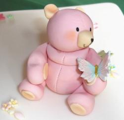 Pink teddy bear cake with butterfly.JPG