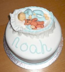Baby shower dedication cake with baby in a basket with teddy bear.JPG