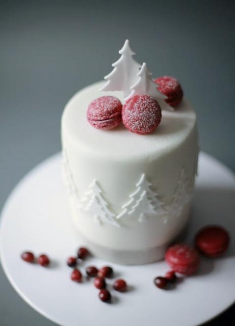 White Christmas Cylindrical Cake with Pine Trees & Mini Red Biscuits.JPG