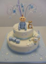 Two tier white baby shower cake with baby and teddy bear and puppy.JPG