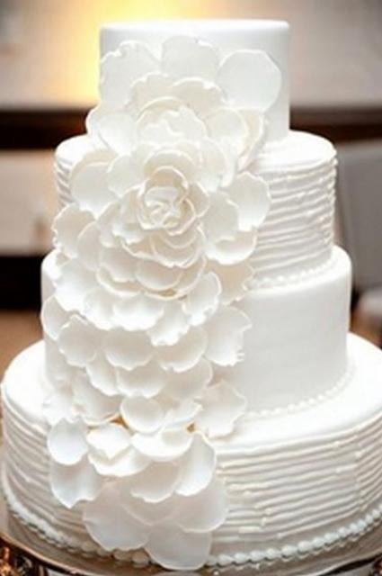 Square Wedding Cake Fresh Flowers