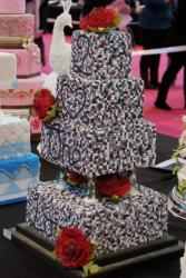 Four Tier Minecraft Block Theme Wedding Cake with Message of Love.JPG