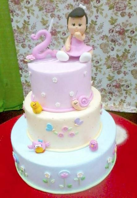 3 Tier Pink And Lavender Birthday Cake For 2 Year Old GirlJPG