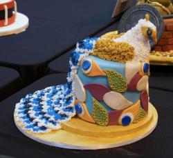 Colorful Peacock Theme Cake with Feather Patterns.JPG