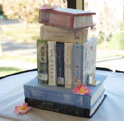 Stacked Books and Library Theme Class Graduation Cake.JPG