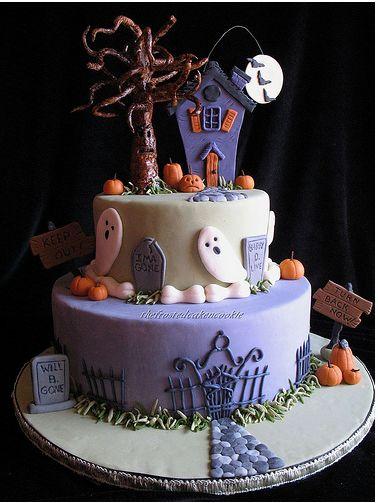 Purple Haunted House Cake For Halloween Jpg