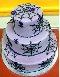Purple spider web halloween cake photo.JPG