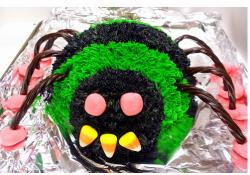 Scary spider halloween cake in green.JPG