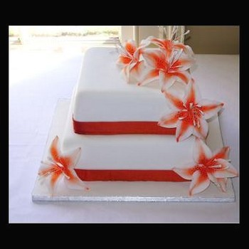 2 tier orange flower wedding cake