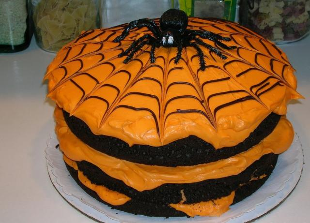 spider halloween cake in black and orange jpg  1 comment
