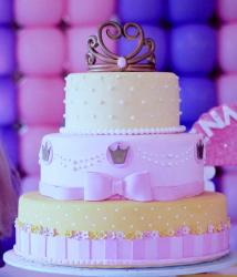 Cake Designed for Girl in 3 Tiers with Tiara on Top & Pink Bow.JPG